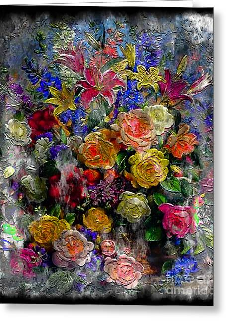 7a Abstract Floral Painting Digital Expressionism Greeting Card