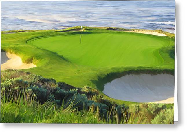 7th Hole At Pebble Beach Hol Greeting Card