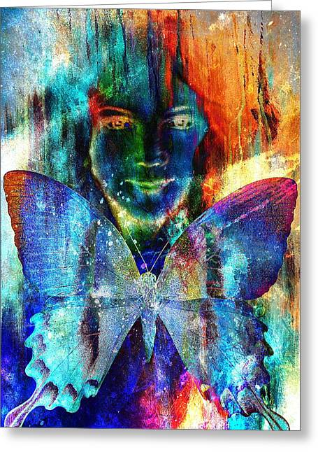 Young Girl Angelic Face And A Butterfly. Structure Color Collage Art. Greeting Card