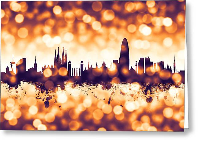 Barcelona Spain Skyline Greeting Card