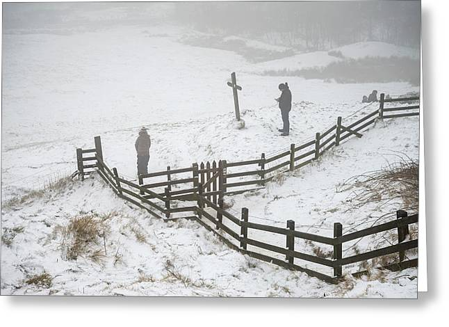 Beautiful Winter Landscape Image Around Mam Tor Countryside In P Greeting Card by Matthew Gibson