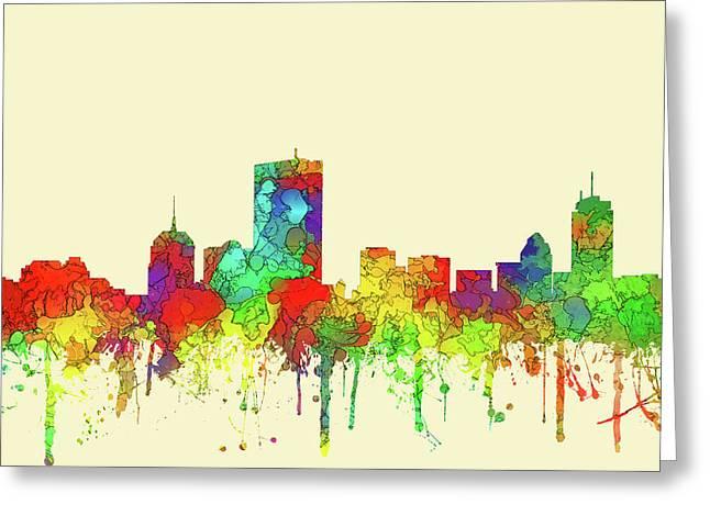 Boston Massachusetts Skyline Greeting Card by Marlene Watson