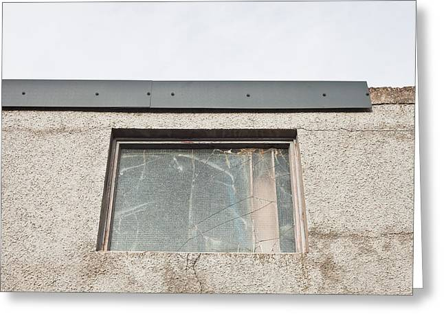 Broken Window Greeting Card by Tom Gowanlock