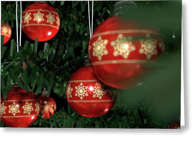 Christmas Baubels In A Tree Greeting Card