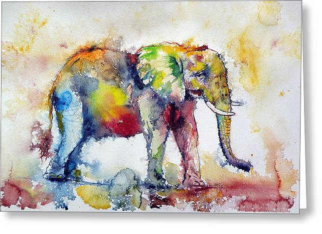 Big Colorful Elephant Greeting Card