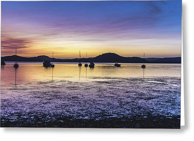 Dawn Waterscape Over The Bay With Boats Greeting Card