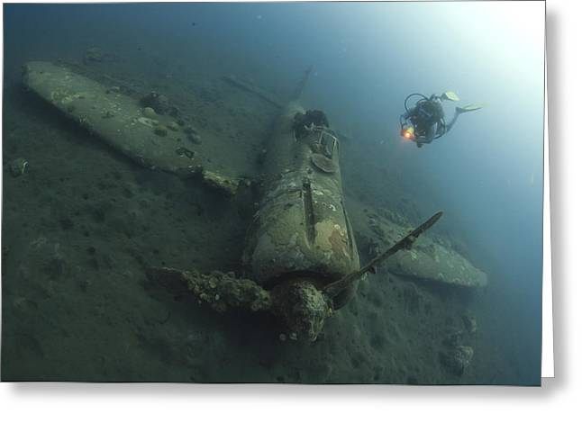Scuba Diving Greeting Cards - Diver Explores The Wreck Greeting Card by Steve Jones