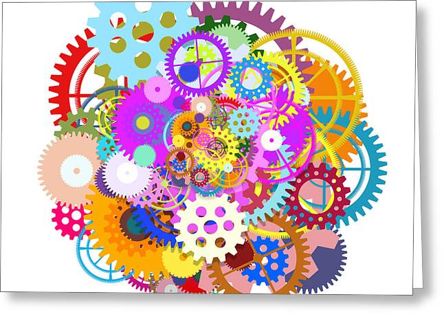 Meshed Greeting Cards - Gears Wheels Design  Greeting Card by Setsiri Silapasuwanchai