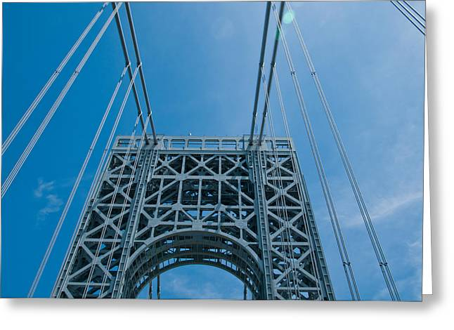 Low Angle View Of A Suspension Bridge Greeting Card