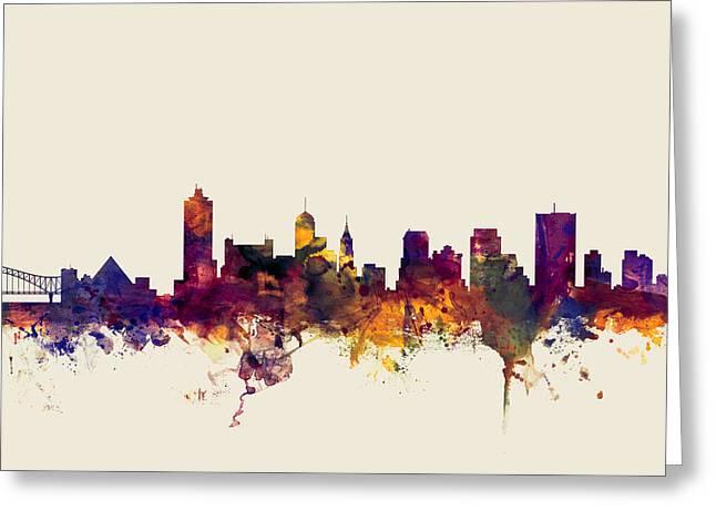 Memphis Tennessee Skyline Greeting Card by Michael Tompsett
