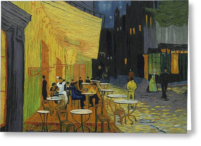 Cafe Terrace At Night Greeting Card