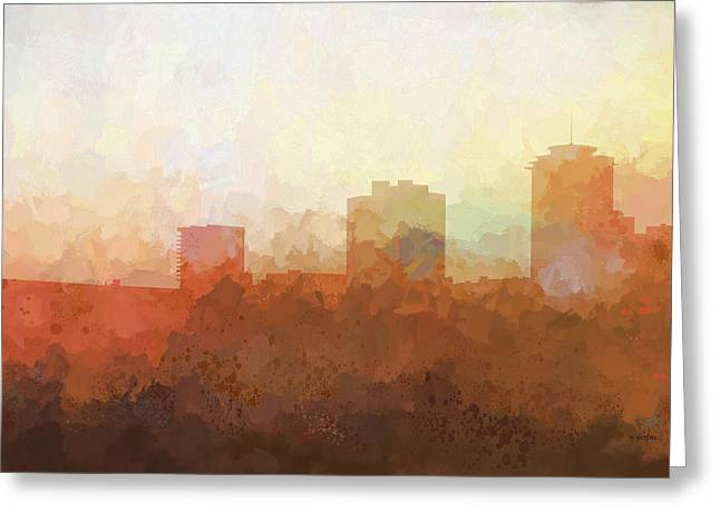 Greeting Card featuring the digital art New Orleans Louisiana Skyline by Marlene Watson