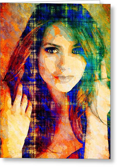 Nina Dobrev Greeting Card by Svelby Art