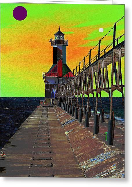 North Pier St Joseph Michigan Greeting Card