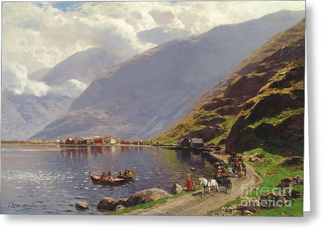 Norwegian Fjord Landscape Greeting Card