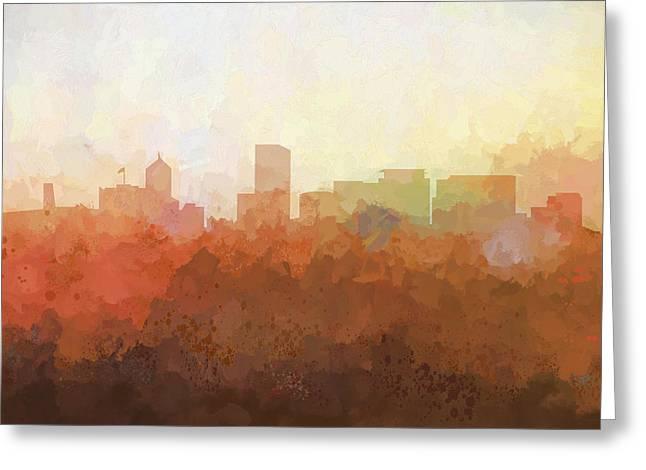 Greeting Card featuring the digital art Portland Oregon Skyline by Marlene Watson