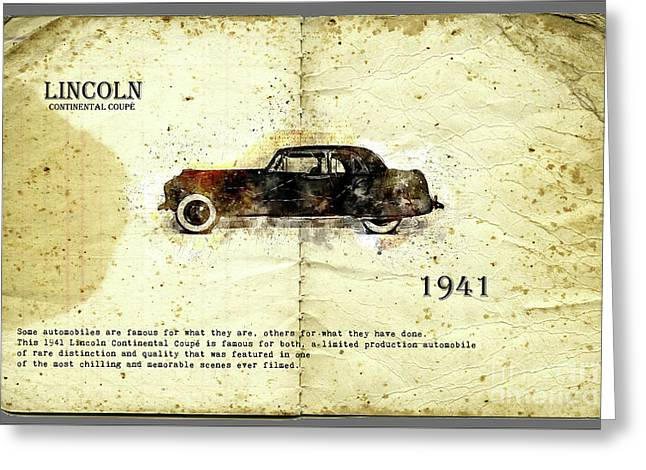 Greeting Card featuring the digital art Retro Car In Sketch Style by Ariadna De Raadt