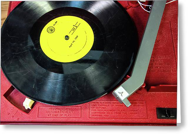 Greeting Card featuring the photograph 8 Rpm Record Player by Gary Slawsky