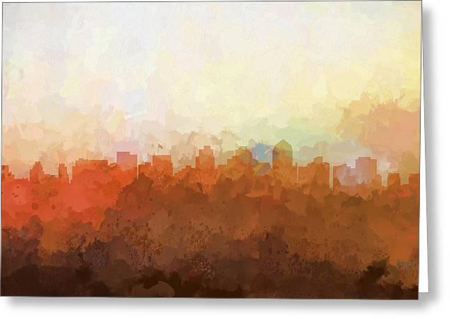 Greeting Card featuring the digital art San Diego California Skyline by Marlene Watson
