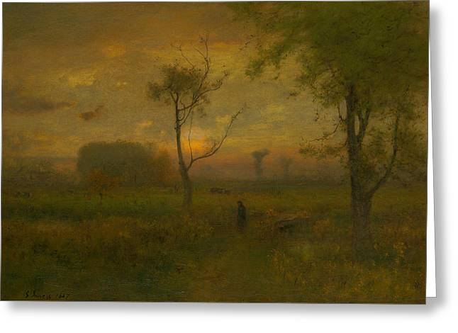 Sunrise Greeting Card by George Inness
