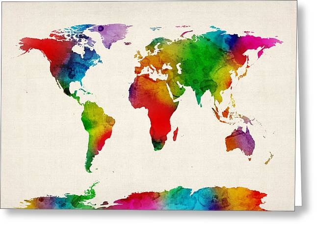 Greeting Card featuring the digital art Watercolor Map Of The World Map by Michael Tompsett
