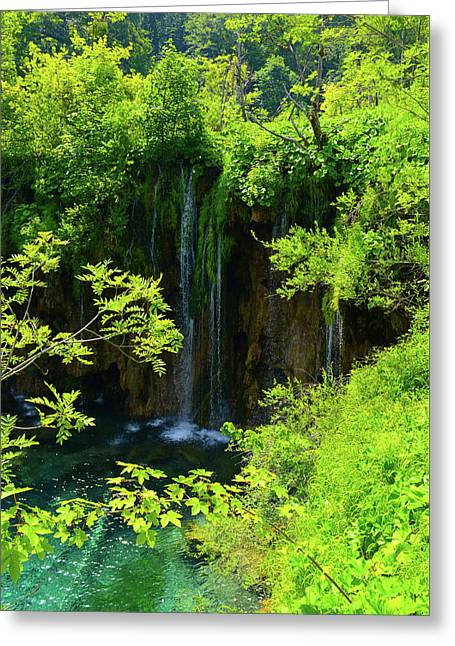 Waterfall In Plitvice National Park In Croatia Greeting Card
