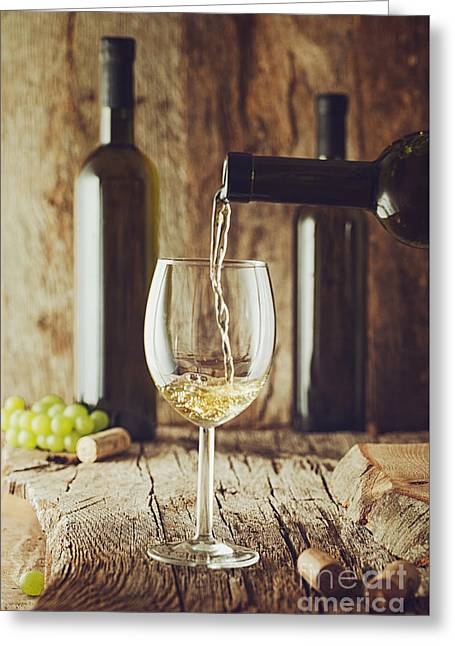 Wine On Wood Greeting Card