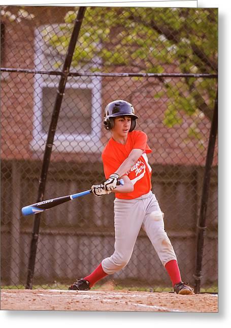 Youth Baseball Match Greeting Card by Peter Lakomy