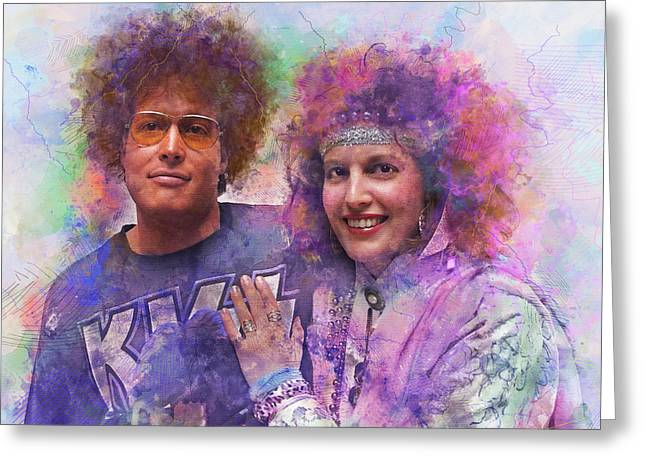 Homage To The 1980s - Digital Watercolor Pop Art Greeting Card by Rayanda Arts