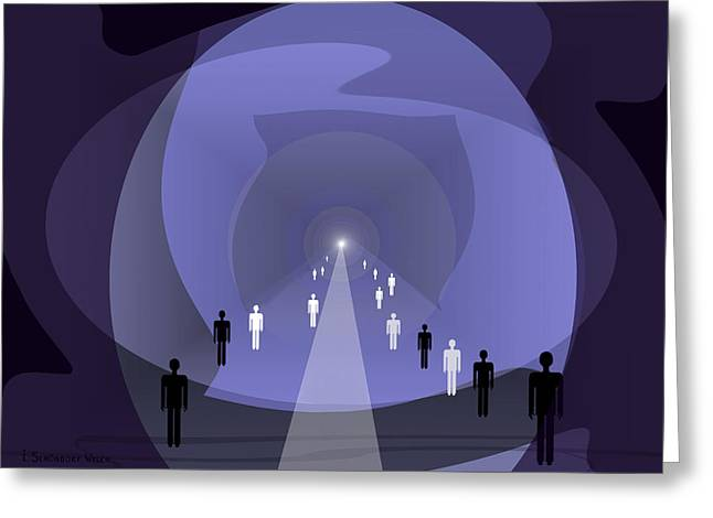 814 - Light At The End Of The Tunnel Greeting Card by Irmgard Schoendorf Welch