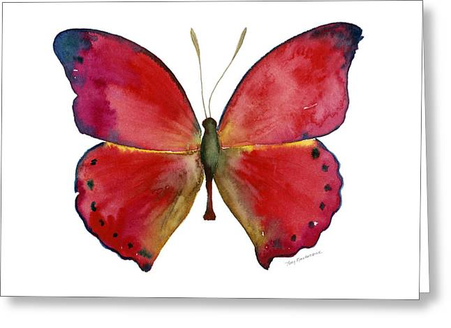 83 Red Glider Butterfly Greeting Card by Amy Kirkpatrick