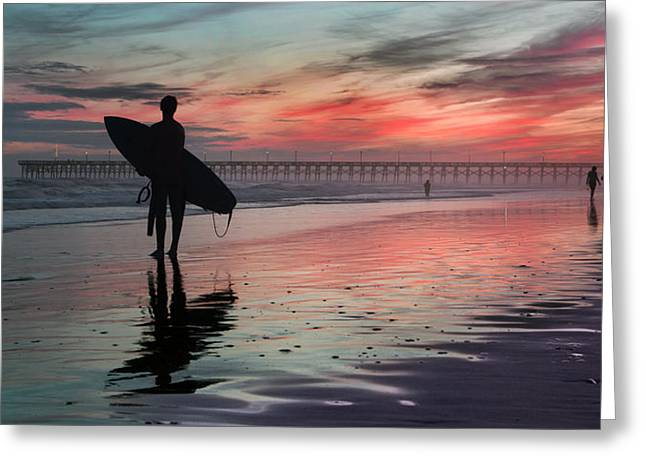 84x42 Searching For A Perfect Wave  Greeting Card by Betsy Knapp