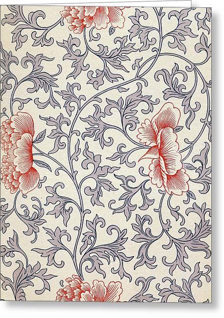 Bright Pastel Flower Art Pattern - Vintage Ethnic Asian Wall Art Prints  Greeting Card