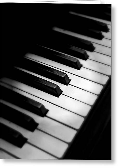 Black And White Greeting Card featuring the photograph 88 Keys To The Heart by Aaron Berg