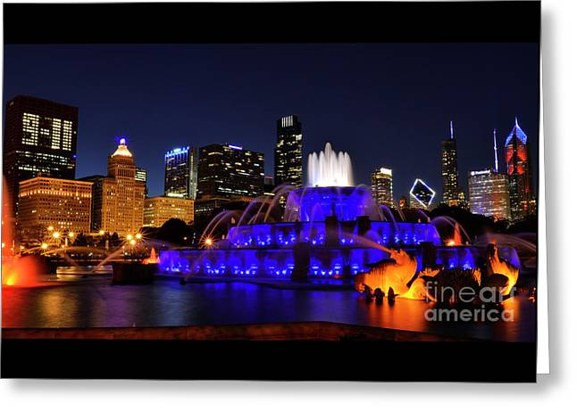 Greeting Card featuring the photograph 911 Tribute At Buckingham Fountain, Chicago by Zawhaus Photography