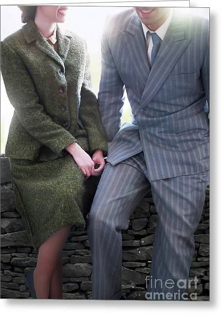 Greeting Card featuring the photograph 1940s Couple by Lee Avison