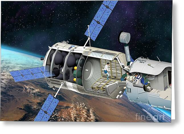 Atv Docked To The Iss, Artwork Greeting Card by David Ducros