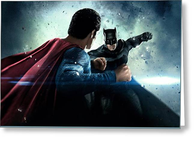Batman V Superman Dawn Of Justice 2016  Greeting Card by Unknown