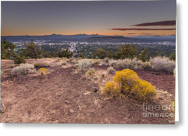 Bend From Pilot Butte In Evening Greeting Card
