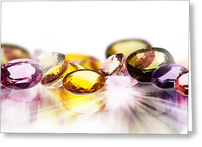 Colorful Gems Greeting Card by Setsiri Silapasuwanchai