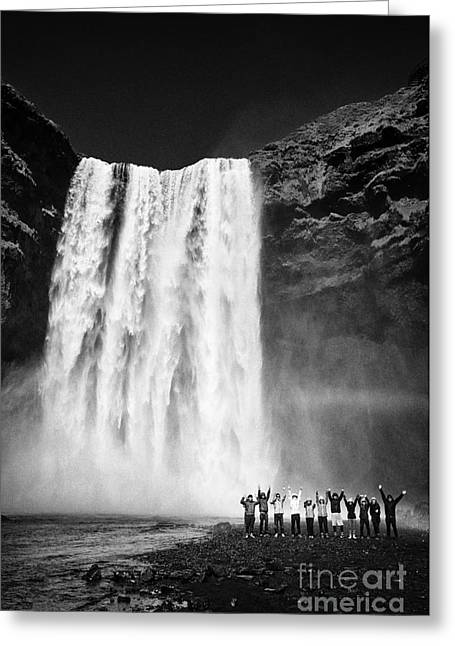 Crowds Of Tourists At Skogafoss Waterfall In Iceland Greeting Card by Joe Fox