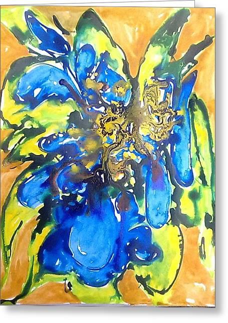 Digital Flower Painting Greeting Card by Baljit Chadha