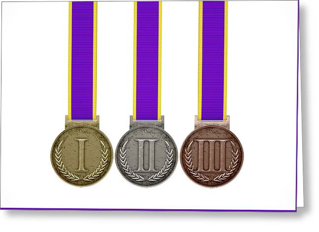 First Second And Third Medals Greeting Card by Allan Swart