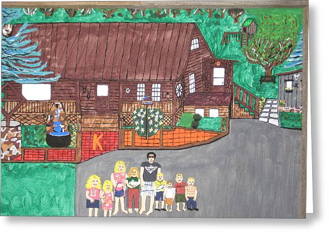 Greeting Card featuring the painting 9 Grand Kids by Jeffrey Koss