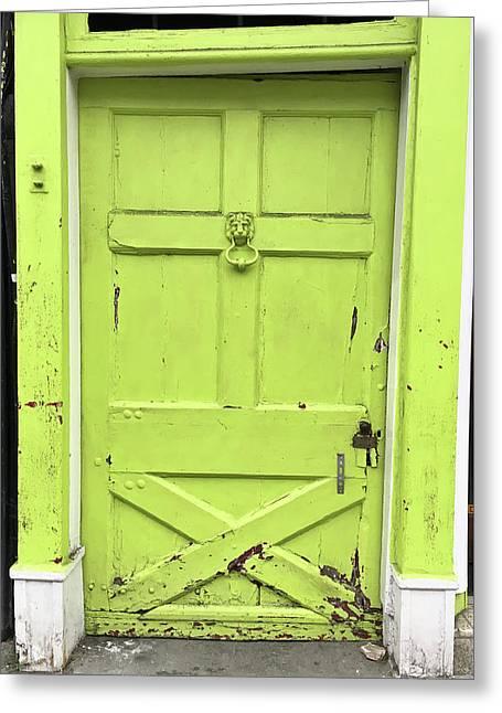 Green Door Greeting Card by Tom Gowanlock