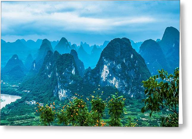 Karst Mountains Landscape Greeting Card