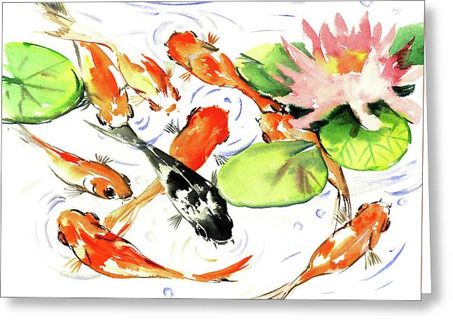 9 Koi Fish Greeting Card