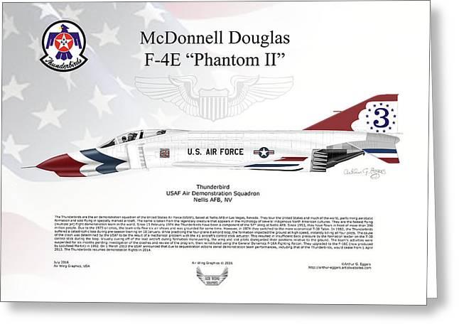 Mcdonnell Douglas F-4e Phantom II Thunderbird Greeting Card by Arthur Eggers