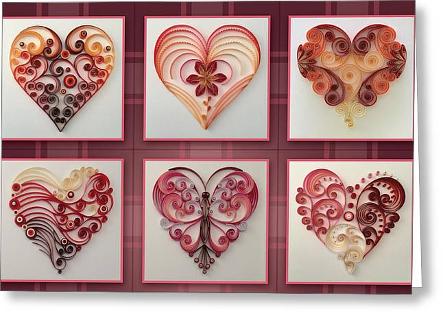 9 Of Hearts Collage Greeting Card by Felecia Dennis