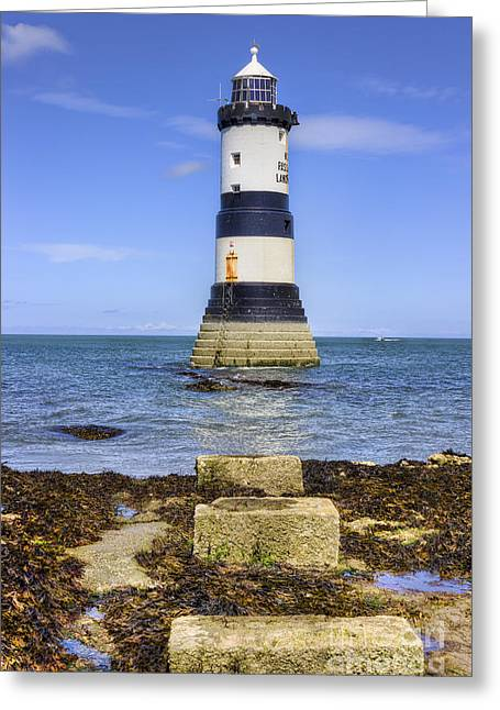 Penmon Lighthouse Greeting Card by Ian Mitchell